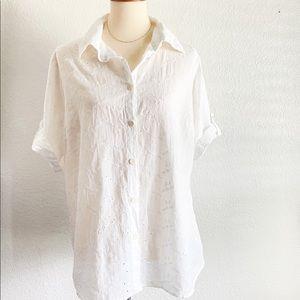 Flax white eyelet button shirt medium